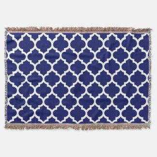 Motif blanc #5 de Quatrefoil de Marocain de bleu Couvre Pied De Lit