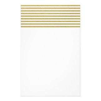 Motif blanc de rayures de feuille d'or de Faux Papeterie