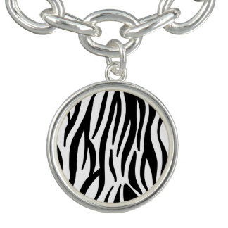 Motif blanc et noir de zèbre bracelet avec breloques
