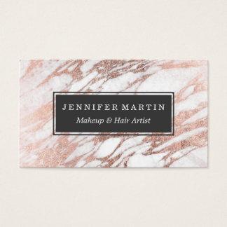 Motif blanc et rose élégant chic de marbre d'or cartes de visite