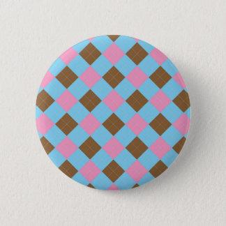 Motif bleu, brun et rose de plaid badge rond 5 cm