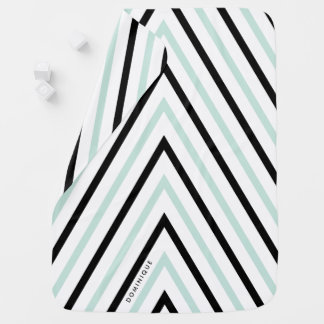 Motif bleu-clair et noir de rayures personnalisé couverture de bébé