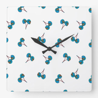 Motif bleu de cerise horloge carrée