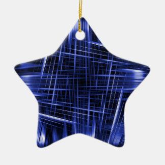 Motif bleu de faisceaux lumineux ornement étoile en céramique