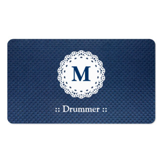 Motif bleu de monogramme de dentelle de batteur cartes de visite personnelles