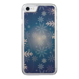 Motif bleu de Noël de flocon de neige Coque En Bois iPhone 7