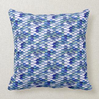 Motif bleu de peau de sirène coussin