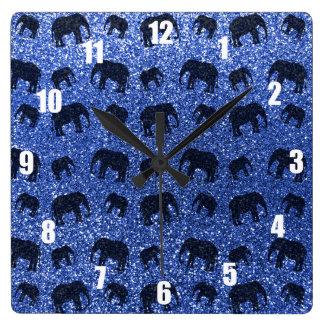 Motif bleu de scintillement d'éléphant horloge carrée