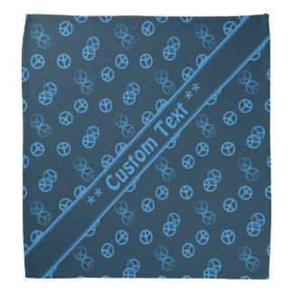 Motif bleu de signe de paix avec le texte fait sur bandana