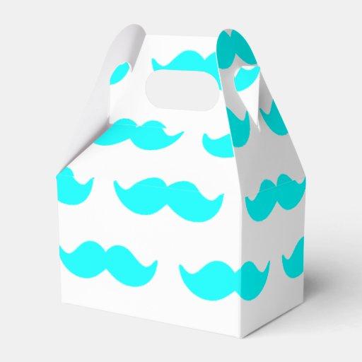 Motif bleu et blanc 1 d'Aqua de moustache Boites Faveurs De Mariage