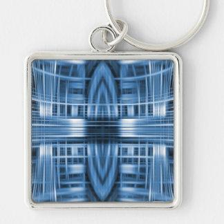 Motif bleu et blanc de tache floue de vitesse porte-clés