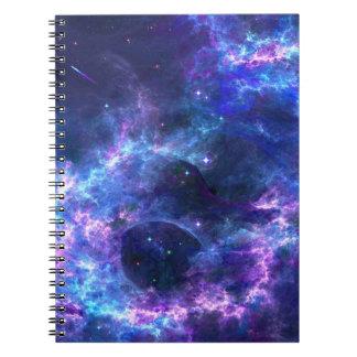 Motif bleu rose coloré de nébuleuse de galaxie carnet