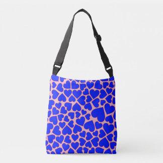 Motif bleu sans couture de forme de coeur sac