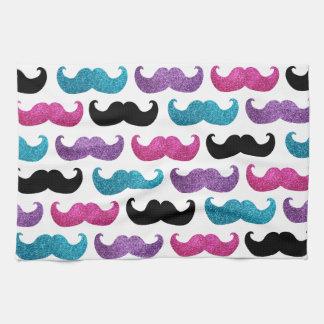 Motif bling coloré de moustache (scintillement de serviettes éponge
