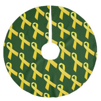 Motif carrelé par rubans jaunes jupon de sapin en polyester brossé