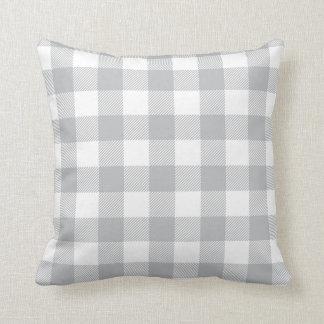 Motif Checkered de plaid gris Coussins Carrés