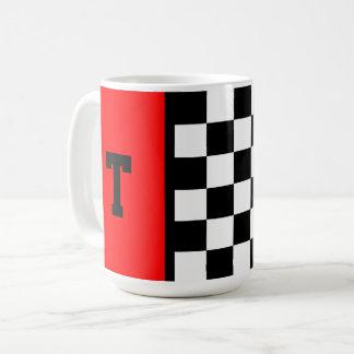 Motif Checkered de voiture de course de monogramme Mug
