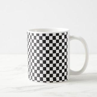 Motif Checkered noir et blanc Mug Blanc