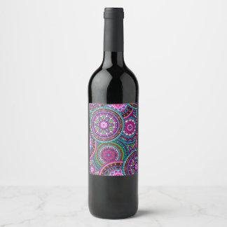 Motif chic de hippie de Bohème intelligente de Étiquette Pour Bouteilles De Vin