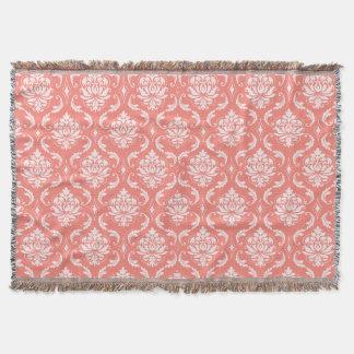 Motif classique blanc rose de corail de damassé couverture