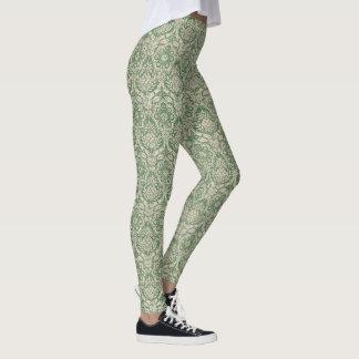 Motif classique de vert de damassé leggings
