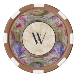 Motif coloré de bulle, décoré d'un monogramme rouleau de jetons de poker