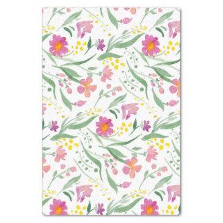 Motif coloré de fleurs et de feuilles de ressort papier mousseline
