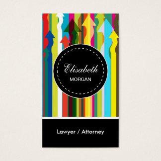 Motif coloré de rayures d'avocat/mandataire cartes de visite