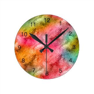 Motif coloré de verre cristal horloge ronde