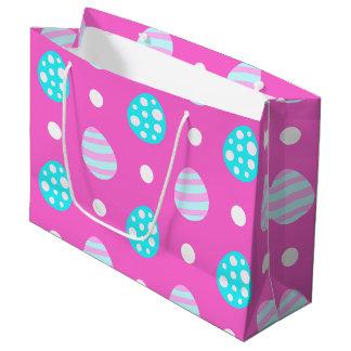 Motif coloré rose doux gai d'oeufs de pâques grand sac cadeau