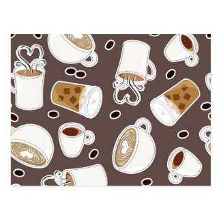 Motif d'amant de café Brown/gris Carte Postale