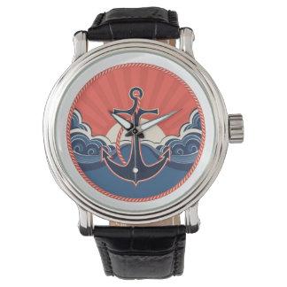 Motif d'ancre et de vague de mer montres bracelet