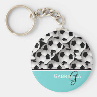 Motif de ballon de football de noir de turquoise porte-clés