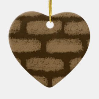 Motif de briques de Brown Ornement Cœur En Céramique