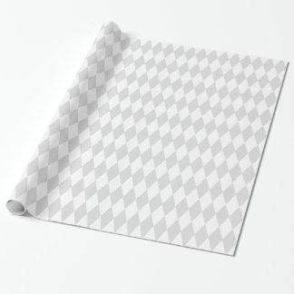 Motif de diamant de harlequin de lt blanc gris papier cadeau