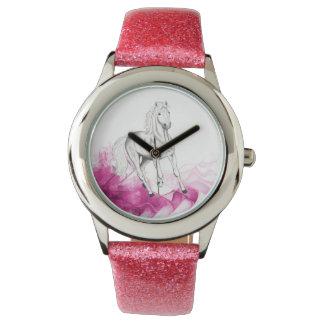 motif de fantaisie de cheval, montre avec la montres