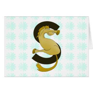 Motif de fleur affligé par poney de la lettre S de Carte