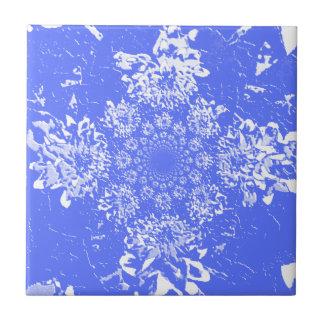 Motif de fleur floral bleu de dahlia d'Abbstract Carreau