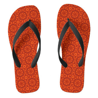 Motif de fleur orange tongs