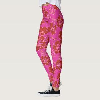 Motif de fleur rouge leggings