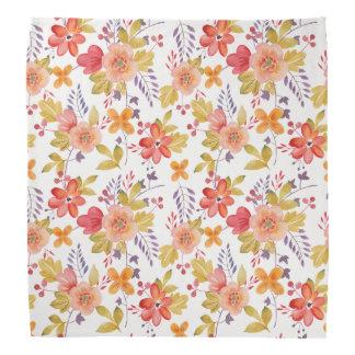 Motif de fleurs de printemps orange et rouge bandanas