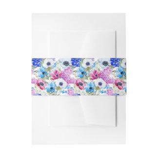 Motif de fleurs pourpre bleu de minuit d'aquarelle bandeau de faire-part