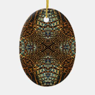 Motif de fourrure de tigre de kaléidoscope ornement ovale en céramique