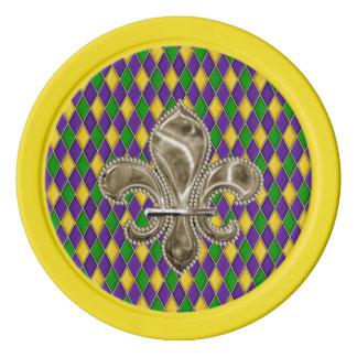 Motif de harlequin de mardi gras avec Fleur de Lis Rouleau De Jetons De Poker
