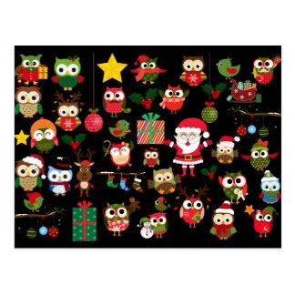 Motif de hibou de Noël Carte Postale