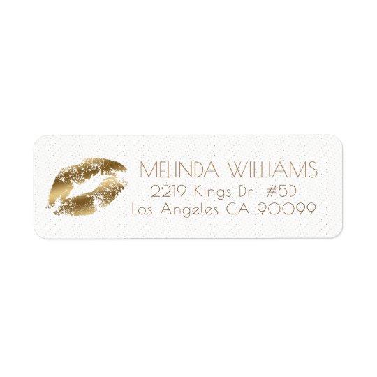 Motif de lèvres et de points d'or étiquette d'adresse retour