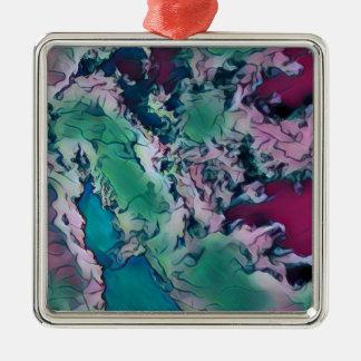 Motif de marbrure abstrait coloré rouge vert ornement carré argenté