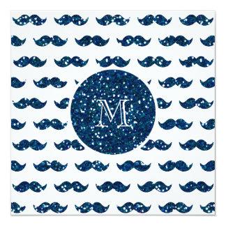 Motif de moustache de scintillement de bleu marine carton d'invitation