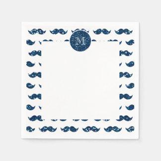 Motif de moustache de scintillement de bleu marine serviettes en papier