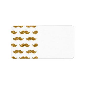 Motif de moustache de scintillement d'or imprimé étiquette d'adresse